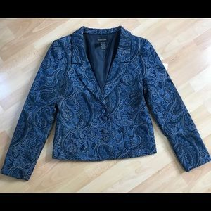 Blues and Gray Paisley Button Front Jacket